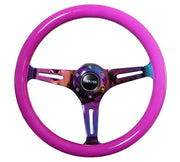 NRG Steering Wheel - Wood 350mm with neochrome spokes and neon purple paint