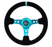 NRG Steering Wheel - Reinforced Black Suede with Teal spokes and center mark