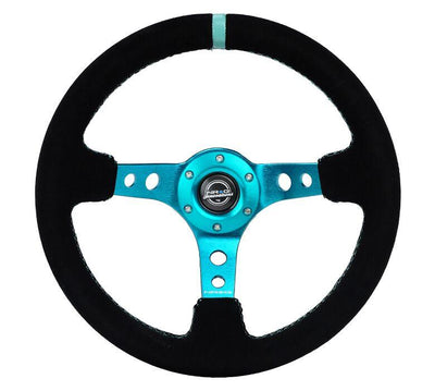 NRG Steering Wheel - Reinforced Black Suede with Teal spokes and center mark - Lowered Lifestyle