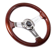 NRG Steering Wheel - Classic Wood Grain 330mm with chrome spokes