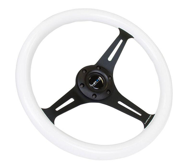 NRG Steering Wheel - Classic Wood Grain 350mm with black spokes and glow in the dark grip (purple glow)