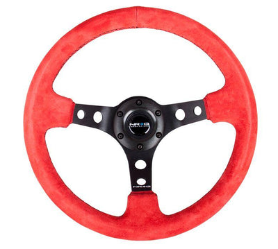 NRG Steering Wheel - Reinforced Red Suede - Lowered Lifestyle