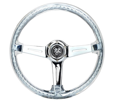 NRG Steering Wheel - Reinforced Matsuri 350mm with Clear Acrylic and Chrome finish
