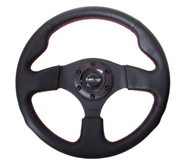 NRG Steering Wheel - Reinforced Sport Leather Steering Wheel with red stitch