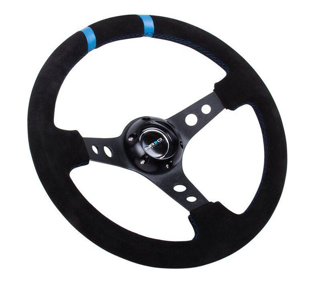 NRG Steering Wheel - Reinforced Suede Sport with Black Spokes and Blue Double Center Mark