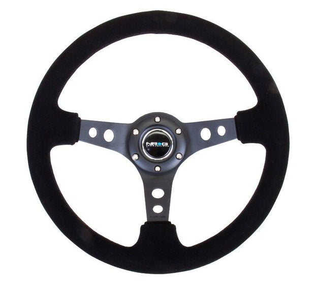 NRG Steering Wheel - Reinforced Black Spoke Suede with Black Stitch