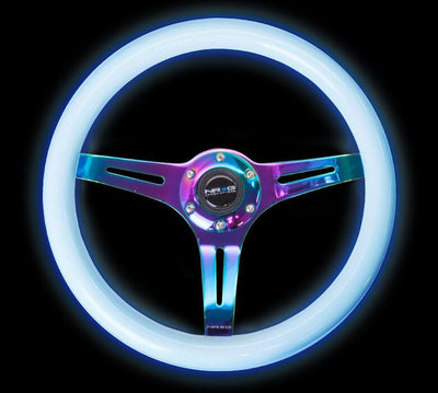 NRG Steering Wheel - Wood 350mm with neochrome spokes and glow in the dark grip (blue glow) - Lowered Lifestyle