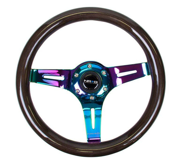 NRG Steering Wheel - Wood 310mm with neochrome spokes and black paint