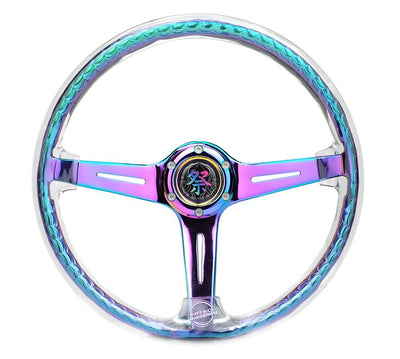 NRG Steering Wheel - Reinforced Matsuri 350mm with Clear Acrylic and NeoChrome finish