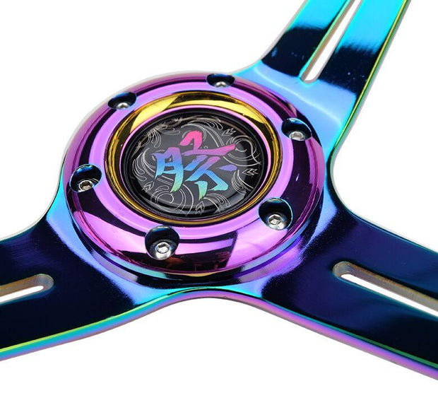 NRG Steering Wheel - Reinforced Matsuri 350mm with Red Acrylic and Neochrome finish - Lowered Lifestyle