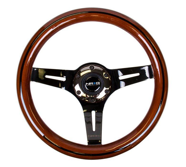 NRG Steering Wheel - Dark Wood 310mm with black chrome spokes and black line inlay
