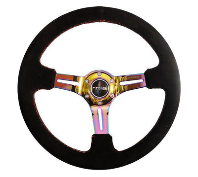 NRG Steering Wheel - Reinforced Black Suede with Neochrome Spokes and red stitching