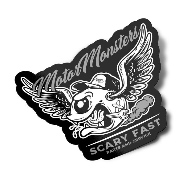 Sticker – Motor Monsters Grey - Lowered Lifestyle