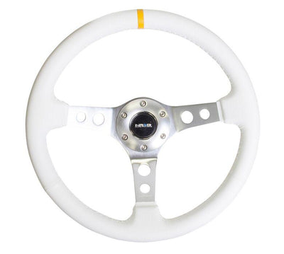 NRG Steering Wheel - Reinforced Silver Spoke with White Leather finish and White Stitch - Lowered Lifestyle