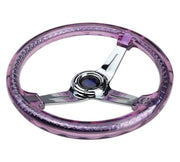 NRG Steering Wheel - Reinforced Matsuri 350mm with Purple Acrylic and chrome finish
