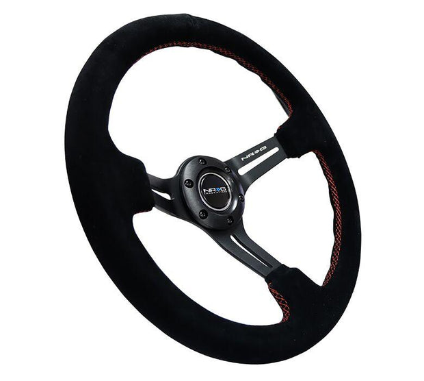 NRG Steering Wheel - Reinforced Black Suede with Red Stitch