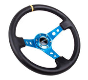 NRG Steering Wheel - Reinforced Blue Spoke with Round holes and Black Leather with yellow stripe