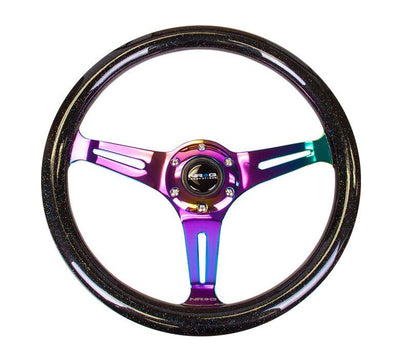 NRG Steering Wheel - Wood 350mm with neochrome spokes and galaxy black sparkle paint - Lowered Lifestyle