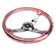 NRG Steering Wheel - Reinforced Matsuri 350mm with Red Acrylic and Chrome finish - Lowered Lifestyle