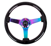NRG Steering Wheel - Reinforced wood 350mm with neochrome spokes and black grip