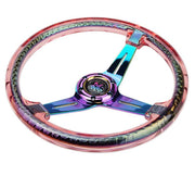 NRG Steering Wheel - Reinforced Matsuri 350mm with Red Acrylic and Neochrome finish