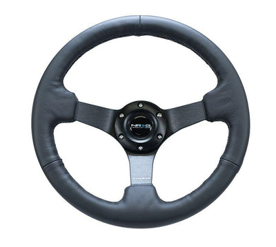 NRG Steering Wheel - Reinforced 330mm Sport Leather Comfort Grip with black spokes and stitching - Lowered Lifestyle