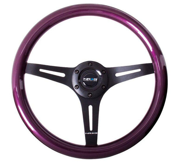 NRG Steering Wheel - Wood 350mm with black spokes and purple pearl flake paint