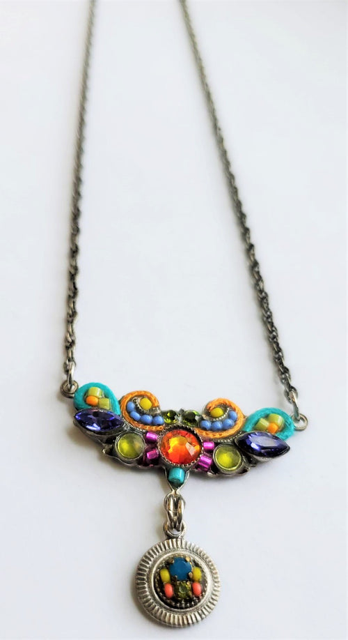 Firefly Mosaic Beaded Swarovski Crystal Festoon Necklace