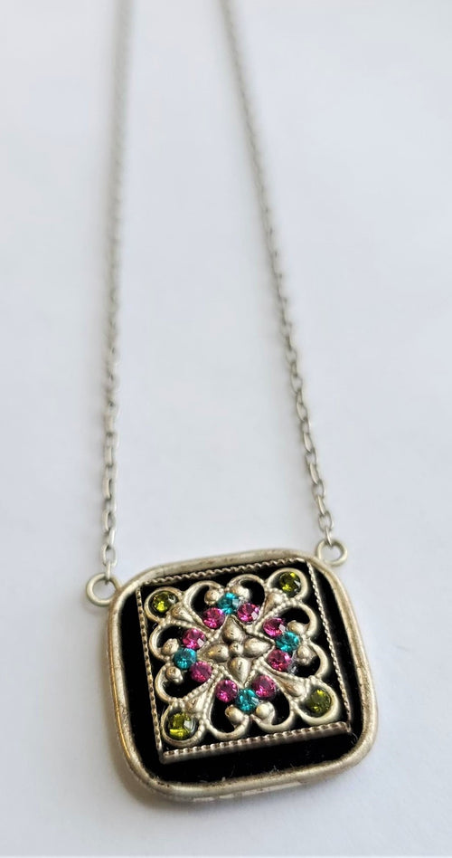 Firefly Mosaic Intricate Square Swarovski Crystal Necklace