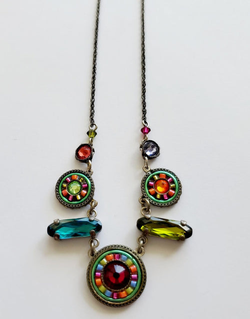 Firefly Swarovski Crystal 3 Circle Spectrum Necklace