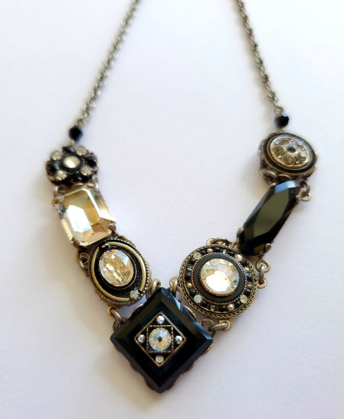 Firefly Swarovski Crystal Black/Silver V-Point Necklace