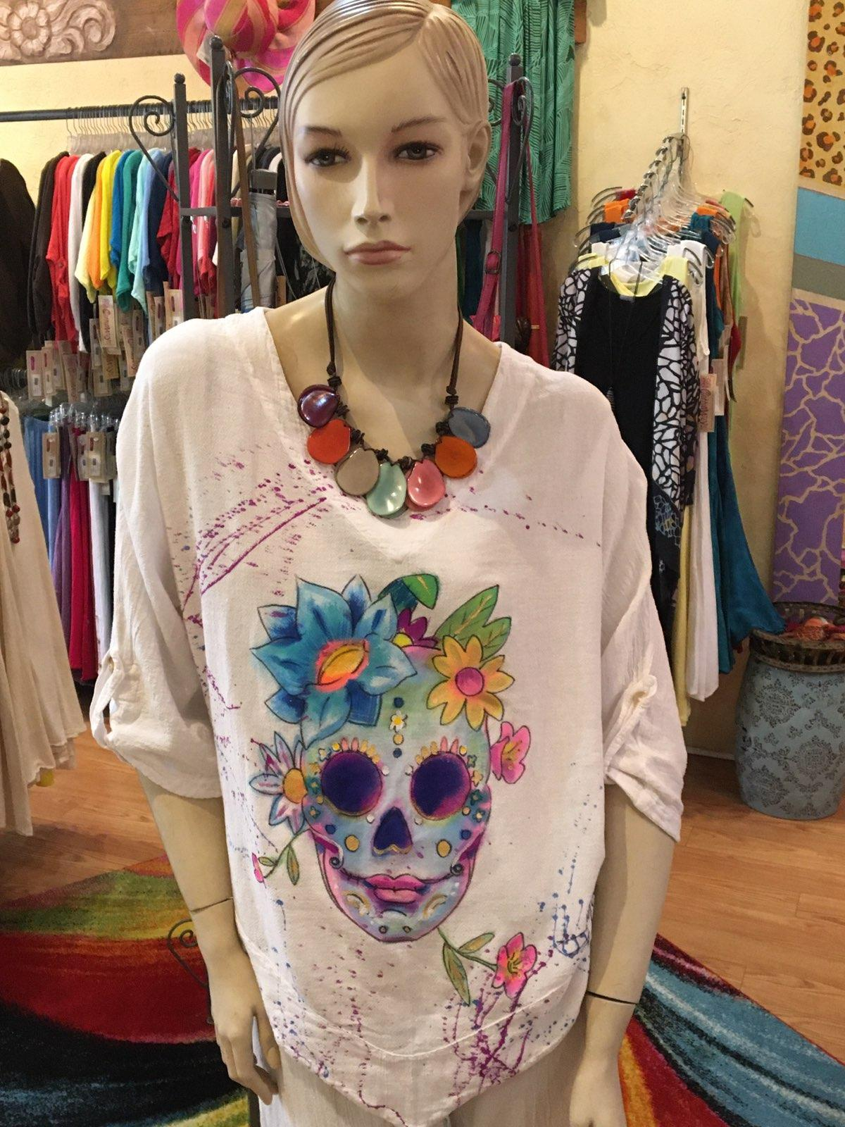 Sugar Skull Hand-Painted Top