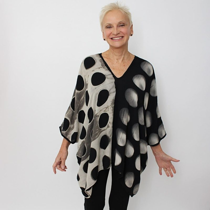 Positive and Negative Polka Dot Rayon Top