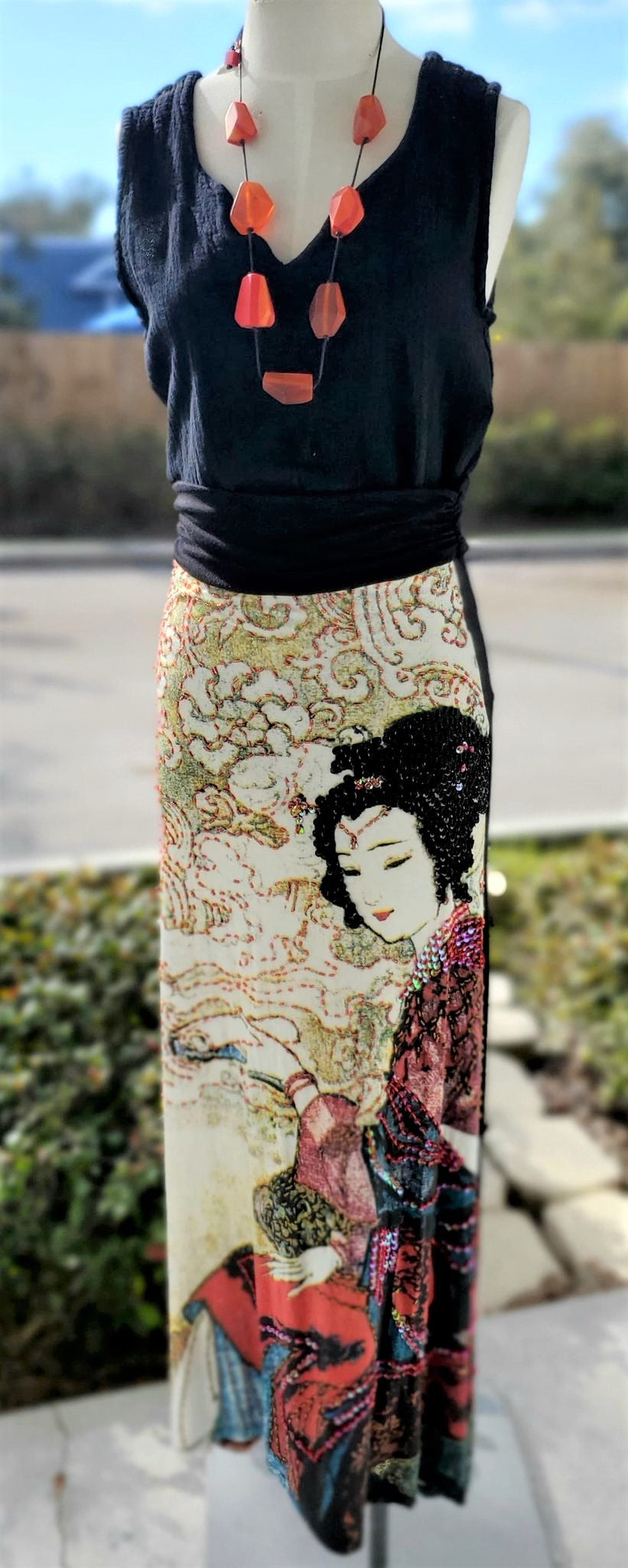 Hand-Beaded Geisha Skirt
