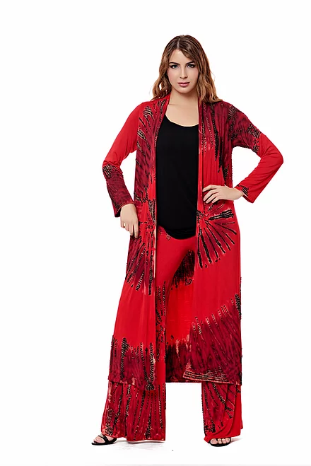 Red/Black Karma Long Hand-Beaded Duster