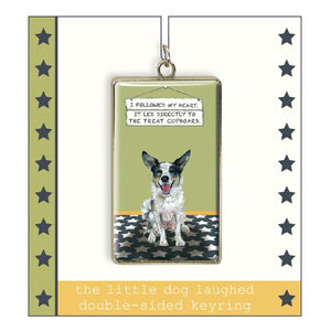 "Border Collie Keyring ""I follow my heart"""