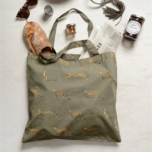 Cheetah pattern folding shopping bag