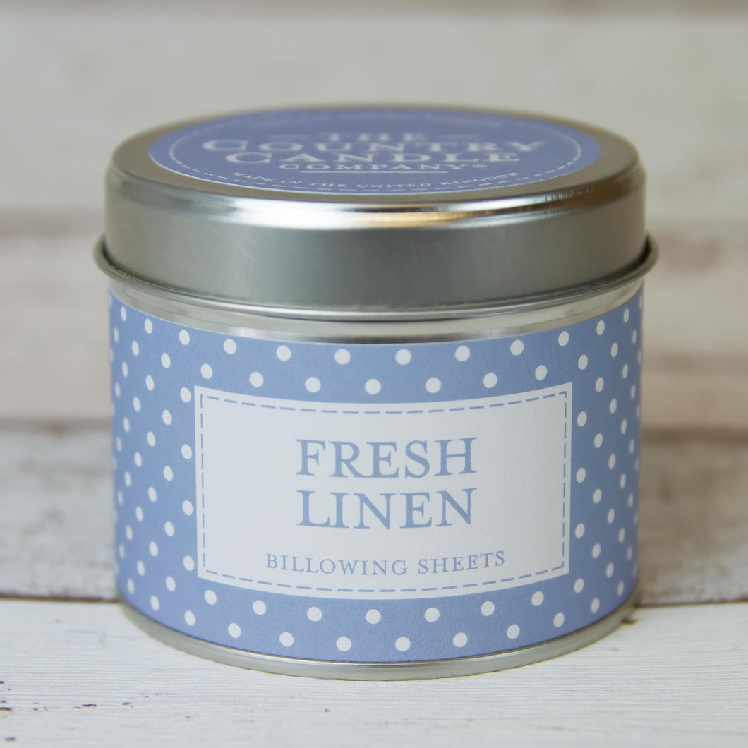 Fresh Linen Polkadot Tin Candle