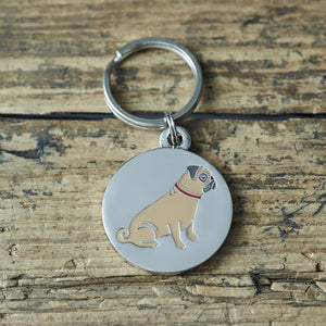 Pug - dog tag or key ring