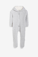 Load image into Gallery viewer, Grey lined Knitted Pramsuit
