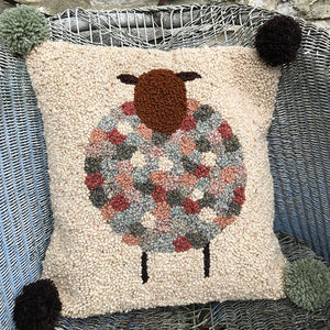 Cushion Hooking Kit - sheep darker