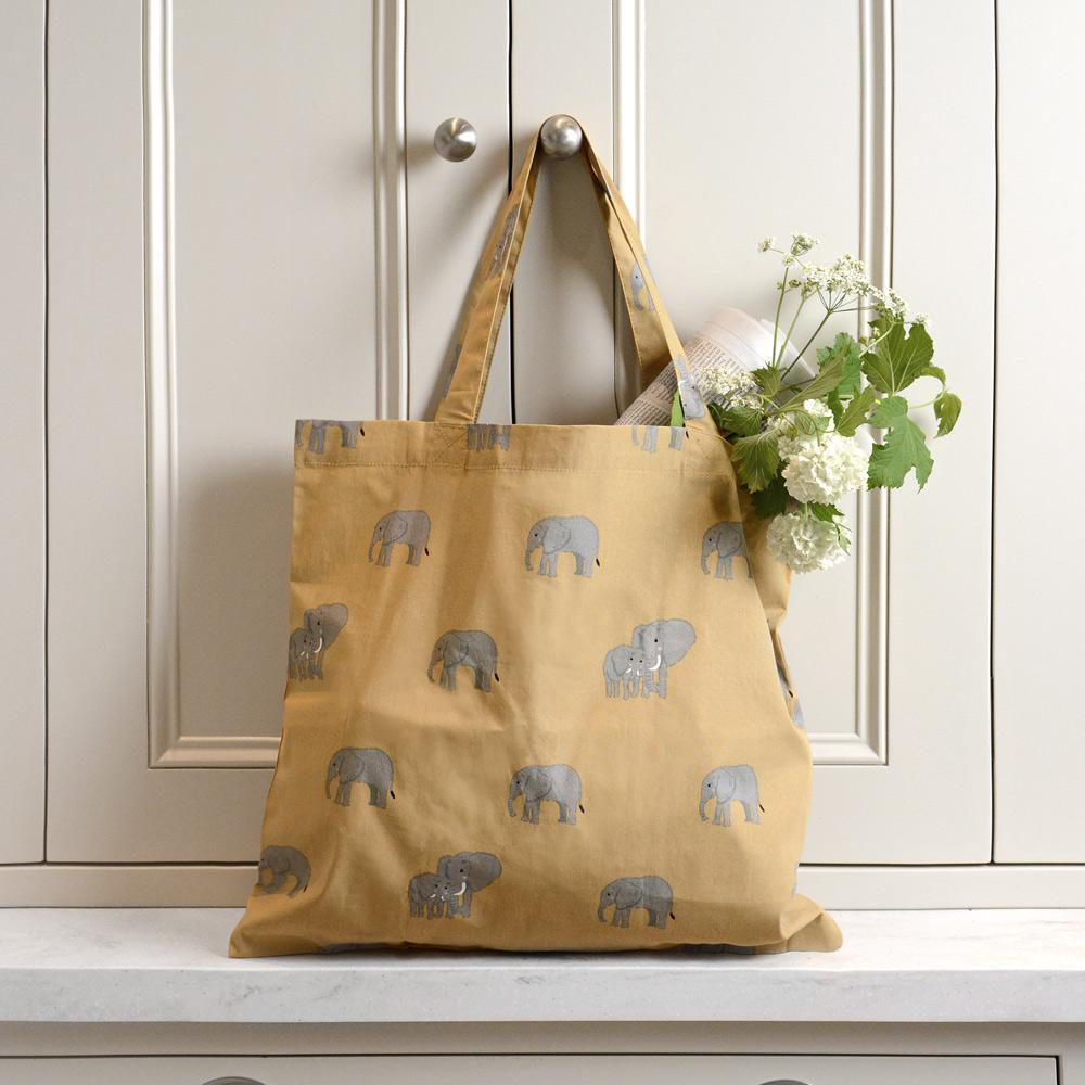 Elephant pattern folding shopping bag