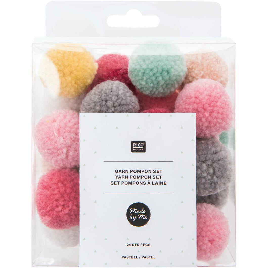 Yarn pompom set - pastels
