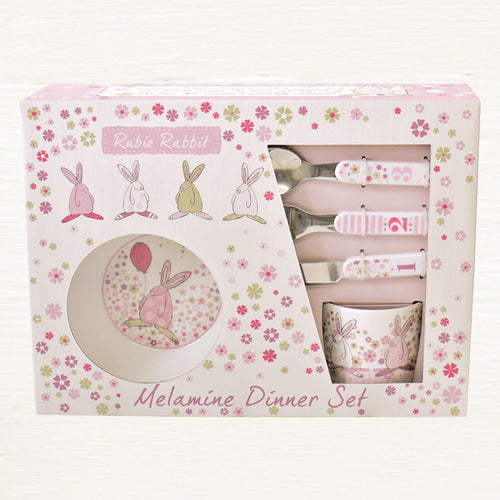Rufus Rabbit Melamine Girls Dinner Set