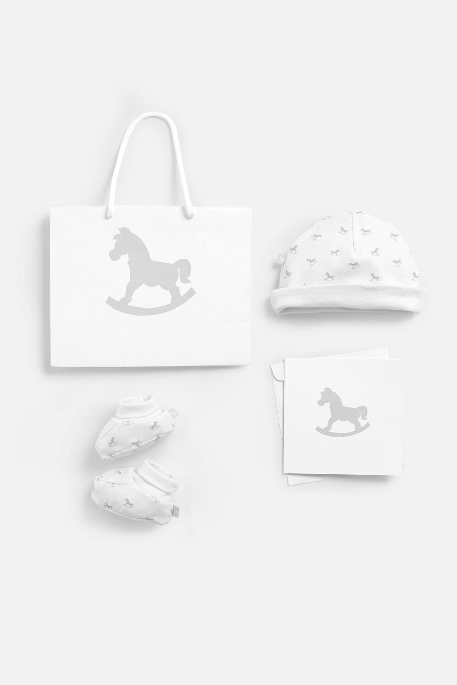 Luxury Bag, Card, Hat and Bootie set - White