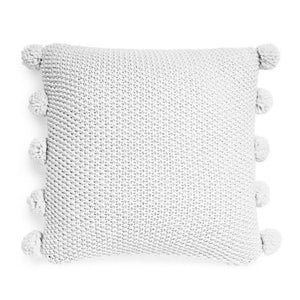 Silver Grey Pompom Cushion