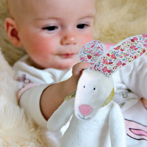 Rufus Rabbit Baby girl rattle and gift box
