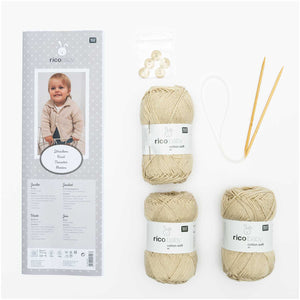 Rico Cream Cardigan Knitting Kit