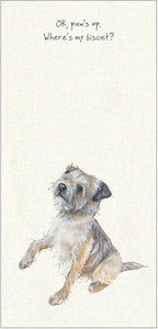 "Border Terrier Greeting Card –"" o.k, Paws Up"""