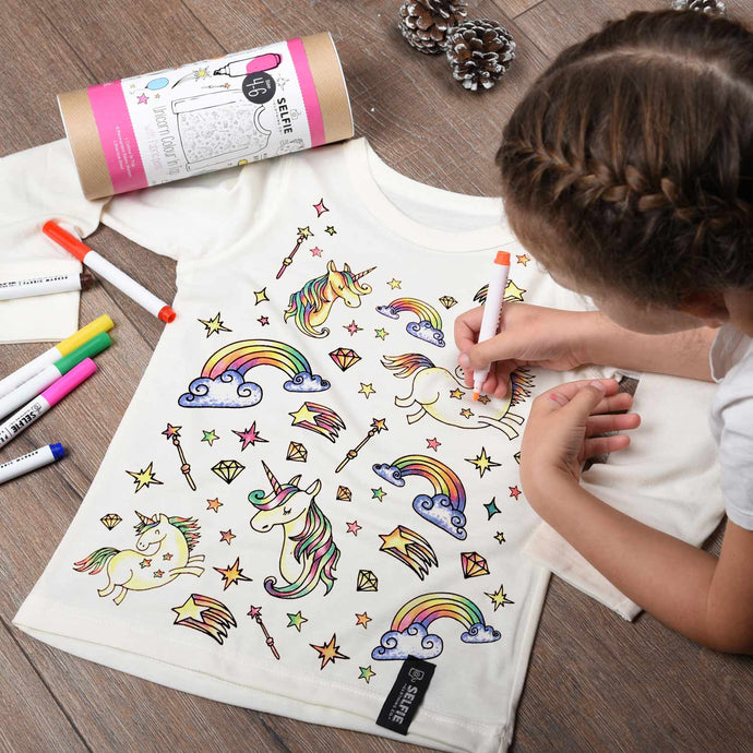 Unicorn colour your own t-shirt